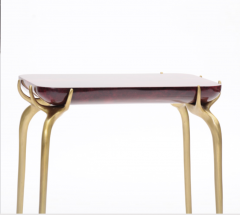 Elan Atelier Jewel Side Table in Ruby Parchment - 1476827