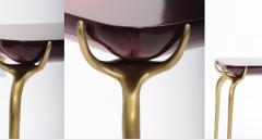 Elan Atelier Jewel Side Table in Ruby Parchment - 1476830