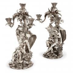 Elkington Co Pair of figural candelabra by Elkington Mason Co - 1577296