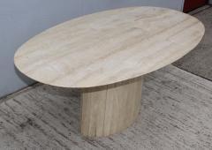 Ello Furniture Co 1970s Italian Travertine Oval Dining Table Attributed To Ello - 1354059