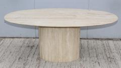 Ello Furniture Co 1970s Italian Travertine Oval Dining Table Attributed To Ello - 1354060