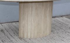 Ello Furniture Co 1970s Italian Travertine Oval Dining Table Attributed To Ello - 1354063