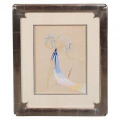 Ert Original Art Deco Gouache on Paper by Erte in White Gold Custom Frame - 1700533