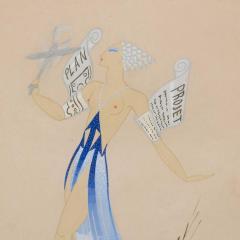 Ert Original Art Deco Gouache on Paper by Erte in White Gold Custom Frame - 1700609