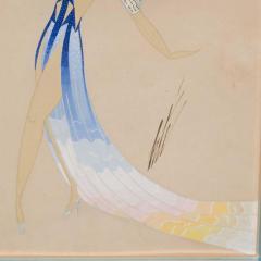 Ert Original Art Deco Gouache on Paper by Erte in White Gold Custom Frame - 1700610
