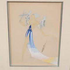 Ert Original Art Deco Gouache on Paper by Erte in White Gold Custom Frame - 1700611