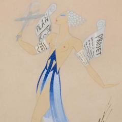 Ert Original Art Deco Gouache on Paper by Erte in White Gold Custom Frame - 1700612