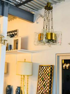Esperia Mid Century Modern Italian Signed Esperia Murano Glass and Brass Chandelier - 529179