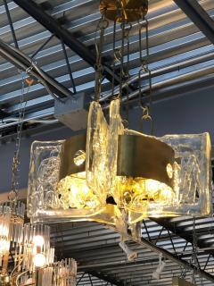 Esperia Mid Century Modern Italian Signed Esperia Murano Glass and Brass Chandelier - 529180