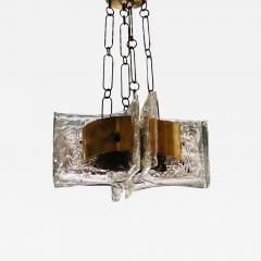 Esperia Mid Century Modern Italian Signed Esperia Murano Glass and Brass Chandelier - 531269