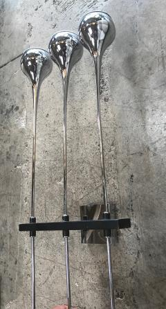 Esperia Modern Pair of Chrome Esperia Sconces Three Torches Arms Italy 1970s - 1038830