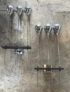 Esperia Modern Pair of Chrome Esperia Sconces Three Torches Arms Italy 1970s - 1038833