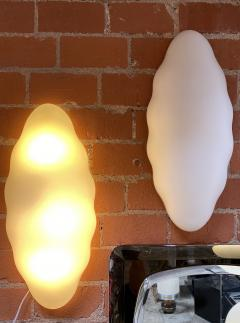 Esperia Pair of Two Opaline Glass Esperia Wall Sconces Italy 1970s  - 1567610