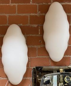 Esperia Pair of Two Opaline Glass Esperia Wall Sconces Italy 1970s  - 1567613