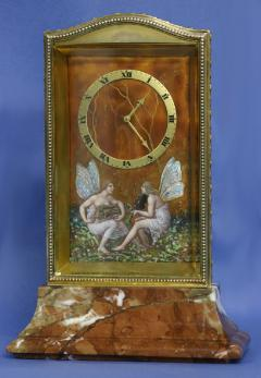 Eterna Watch Co c 1910 Swiss Gilt Silver Enamel and Variegated Marble Desk Clock - 1276324