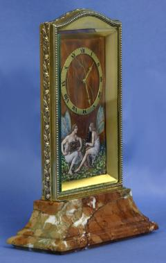 Eterna Watch Co c 1910 Swiss Gilt Silver Enamel and Variegated Marble Desk Clock - 1276338