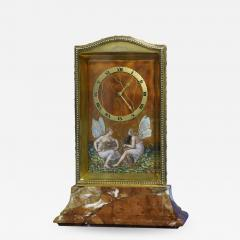 Eterna Watch Co c 1910 Swiss Gilt Silver Enamel and Variegated Marble Desk Clock - 1277558