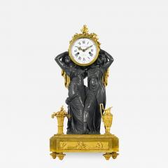 Etienne Lenoir Louis XVI style gilt and patinated bronze Mantel Clock by tienne LeNoir - 2036224