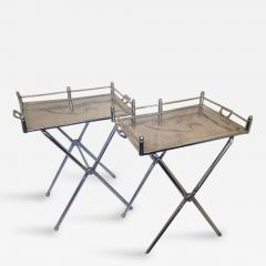 Everlast Metal Products Corporation Pair Of Everlast Polished Aluminum  Folding Bar Tray Tables   88484