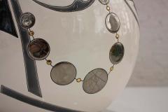 Fa enceries et Emaux de Longwy Vase Emaux de Longwy Femme au collier Art Deco - 1598709