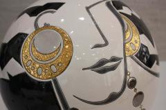 Fa enceries et Emaux de Longwy Vase Emaux de Longwy Femme au collier Art Deco - 1598714