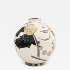 Fa enceries et Emaux de Longwy Vase Emaux de Longwy Femme au collier Art Deco - 1601901