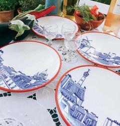 Faiencerie Georges Paris Plate Set 4 Iconic Rooftops - 1608355