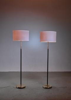 Falkenbergs Belysning Pair of Falkenberg floor lamps in brass and leather - 1225160
