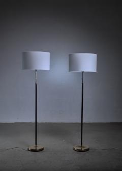 Falkenbergs Belysning Pair of Falkenberg floor lamps in brass and leather - 1225161