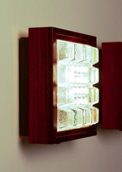 Falkenbergs Belysning Pair of Wall Lamps Sconces in Rosewood and Glass by Falkenbergs Sweden - 1396770