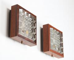 Falkenbergs Belysning Pair of Wall Lamps Sconces in Rosewood and Glass by Falkenbergs Sweden - 1396773