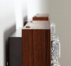 Falkenbergs Belysning Pair of Wall Lamps Sconces in Rosewood and Glass by Falkenbergs Sweden - 1396774