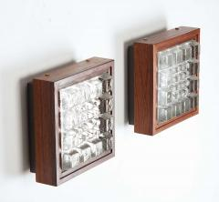 Falkenbergs Belysning Pair of Wall Lamps Sconces in Rosewood and Glass by Falkenbergs Sweden - 1396777