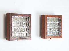 Falkenbergs Belysning Pair of Wall Lamps Sconces in Rosewood and Glass by Falkenbergs Sweden - 1396778