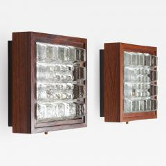 Falkenbergs Belysning Pair of Wall Lamps Sconces in Rosewood and Glass by Falkenbergs Sweden - 1399400