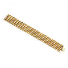 Faraone Faraone 1970s Gold and Diamond Ribbed Design Bracelet - 713153
