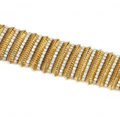 Faraone Faraone 1970s Gold and Diamond Ribbed Design Bracelet - 713155