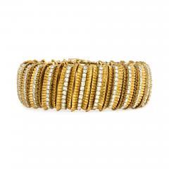 Faraone Faraone 1970s Gold and Diamond Ribbed Design Bracelet - 713983
