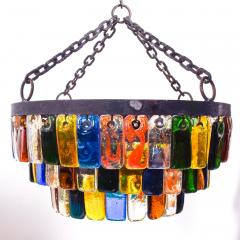 Feders MidCentury Mexican Modernist Chandelier by FEDERS Delfinger 3 Tiers Color Glass - 1233128