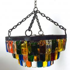 Feders MidCentury Mexican Modernist Chandelier by FEDERS Delfinger 3 Tiers Color Glass - 1233145