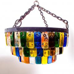 Feders MidCentury Mexican Modernist Chandelier by FEDERS Delfinger 3 Tiers Color Glass - 1233148