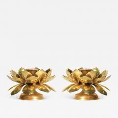 Feldman Lighting Co Feldman Brass Lotus Candle Holders in the Style of Parzinger - 1973284