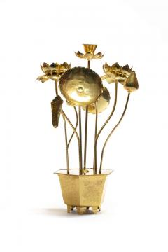 Feldman Lighting Co Feldman Chinoiserie Adjustable Brass Lotus Bouquet Sculpture circa 1970 - 1976534