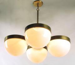 Feldman Lighting Co Feldman Lighting Five Light Hemispherical Milk Glass and Brass Pendant - 52627