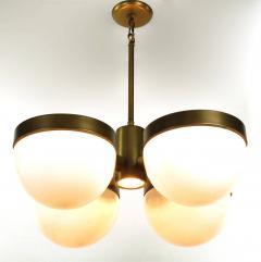 Feldman Lighting Co Feldman Lighting Five Light Hemispherical Milk Glass and Brass Pendant - 52628