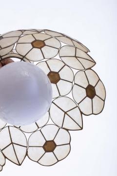 Feldman Lighting Co Feldman White Capiz Shell and Brass Floral Themed Pendant Light Pair Available - 1975501