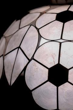 Feldman Lighting Co Feldman White Capiz Shell and Brass Floral Themed Pendant Light Pair Available - 1975503