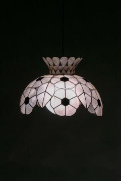 Feldman Lighting Co Feldman White Capiz Shell and Brass Floral Themed Pendant Light Pair Available - 1975504