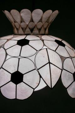 Feldman Lighting Co Feldman White Capiz Shell and Brass Floral Themed Pendant Light Pair Available - 1975505