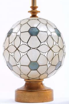 Feldman Lighting Co Feldman White Capiz Shell and Brass Table Lamp circa 1960 - 1975512
